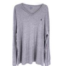 Polo Ralph Lauren XXL V-Neck Jersey Long Sleeve Mens Shirt Pullover Gray... - $39.55