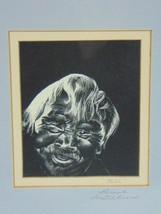 VINTAGE SCRATCH BOARD DRAWING OF NATIVE AMERICAN ESKIMO BY JOE BARONE - $250.00
