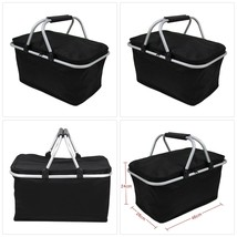 30L Picnic Baskets Insulated 600D Oxford Black Folding Outdoor Camping C... - $29.88