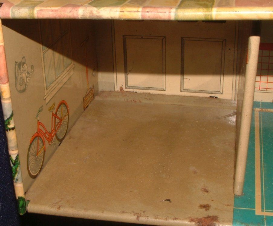 1950s Disney Marx Toy Tin Metal Doll House Donald Duck 2 Story Colonial Litho image 7
