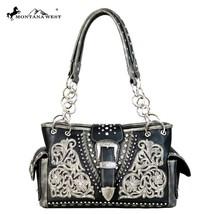 Montana West Floral Applique Pattern Silver Buckle Collection Satchel Handbag - $61.99