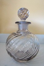 """5.75"""" Tall ~ROUND~SWIRL Clear Perfume/Cologne Bottle~Collectible~Heavy~G... - $63.99"""