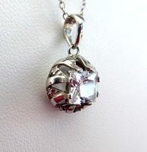Fancy Pendant Necklace Princess Cut Square CZ Diamond Sterling Mount Chain - $48.00