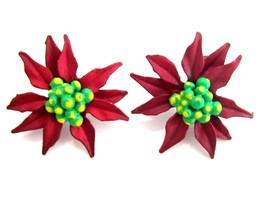 Festive Deep Red & Green Enamel Poinsetta Flower Christmas Fashion Earri... - $17.81