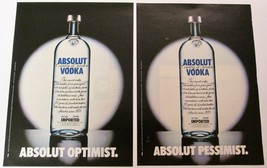 ABSOLUT OPTIMIST and ABSOLUT PESSIMIST German Vodka Magazine Ad 2pp HARD... - $19.99