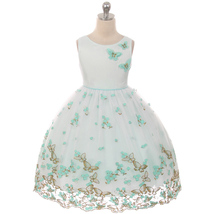 Mint Beautiful Metallic Butterfly and Embroidered Flower on The Skirt Girl Dress - $56.99