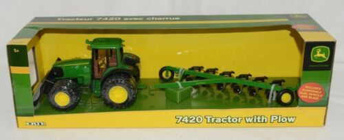 John Deere TBE15815 7420 Tractor With Plow Removable Dual Wheels And Blade