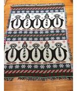 Winter Wonderland Arctic Penguin Reversible Knitted Throw Blanket 43 x 5... - $24.99