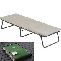 Guest Folding Steel Bed With Foam Mattress Camping Portable Outdoor Cot ... - $98.65