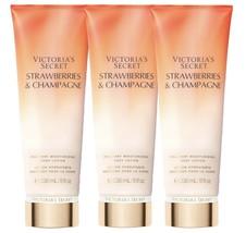 3 VICTORIA'S SECRET STRAWBERRIES & CHAMPAGNE FRAGRANT MOISTURIZING BODY ... - $39.59