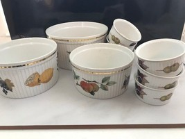Evesham Royal Worcester England 3 piece serving and 6 ramekins 9 Pieces ... - $36.12