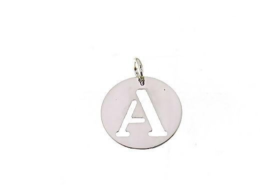18K WHITE GOLD ROUND MEDAL WITH INITIAL A LETTER A MADE IN ITALY DIAMETER 0.5 IN