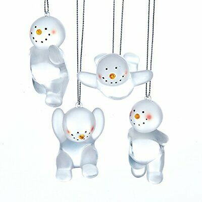 "Primary image for KURT S. ADLER SET OF 4 FROSTED 3"" ACRYLIC SNOWMAN CHRISTMAS ORNAMENTS"