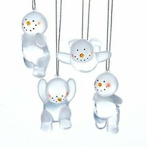"Kurt S. Adler Set Of 4 Frosted 3"" Acrylic Snowman Christmas Ornaments - $18.88"