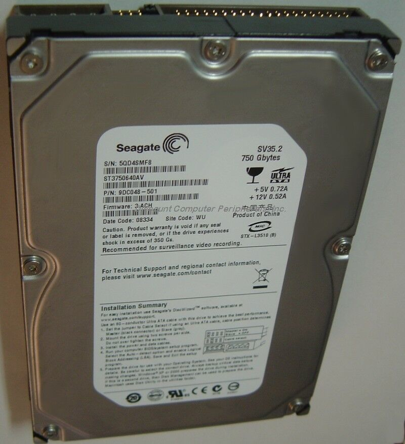 "New ST3750640AV Seagate 750GB 7200RPM IDE PATA 3.5"" Hard Drive Free USA Shipping"