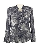 Style & Co 14 Large Blouse Top Black White Animal Crinkle Ruffle Long Be... - $20.31
