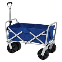 Folding Wagon Polyester Fabric Plastic Steel Blue Outdoor Garden Beach C... - $105.23