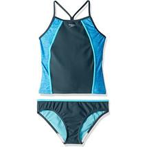 Speedo Girl's Two Piece Tankini Sport Splice Thin Strap, Heather Asphalt... - $43.56