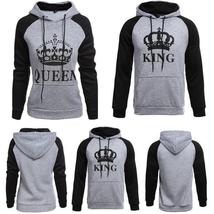 Women and Men Couple's Clothes Letter Printed King Queen Hooded Outfits Couple L