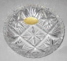 "Neat 4"" Lead Crystal Round Dish Tray Western Germany - $27.89"