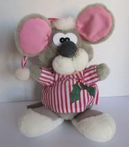 "Vtg Christmas Mouse Plush Toy 1988 Ganzbros Pizzazz 14"" Red Striped Shir... - $16.59"