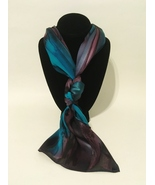 Hand Painted Silk Scarf Plum Steel Grey Teal Unique Womens Head Neck Wra... - £40.98 GBP