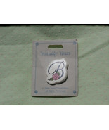 Letter B with Pink Rose, Vintage Initial Brooch Pin, 1980s Ceramic - $7.91