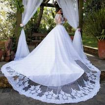 New Stunning Amazing Train Long Sleeve Lace Appliques Satin Wedding Bridal Gown image 2