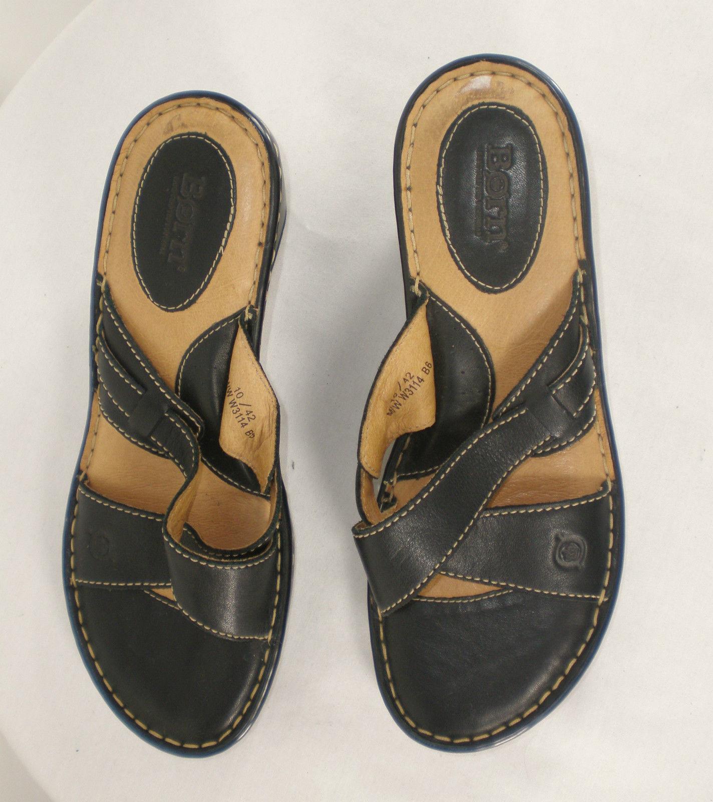 Born leather black brown Sz 10 M Cross Strap Wedge Heels comfortable