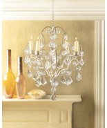 Ivory Baroque Candle Chandelier with Curlicues, Jeweled Ornaments Holds ... - $30.99