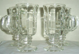 Vintage (4) Solid Libbey Coffee Latte Clear Depression Glasses Mugs - $39.99