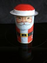 RARE SANTA HANDS ON HIP CHRISTMAS MINT TIN REMOVABLE HAT LID 1986 SHACKMAN - $9.89