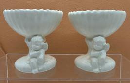 2 Vintage Lefton Japan White cherub candle holder With Angel decor - $24.70