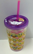 Novelty BPA Free 10oz Different Emojis Printed Cup w/Straw  - $8.86