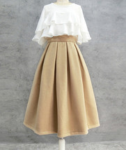 Winter Wool-Blend Skirt Brown Midi Party Skirt Outfit Plus Size image 12