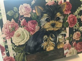 YORKIE PUPPY HAND PAINTED ON GORGEOUS ROSES BOX ! - $130.00