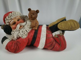 Christmas Figures Custom. santa claus with teddy bear 12in - $22.87