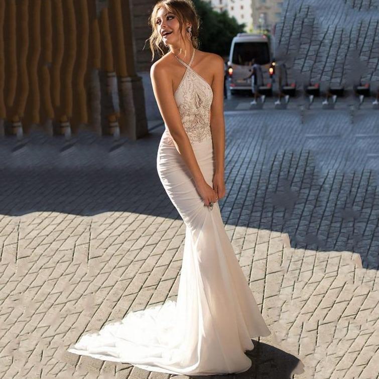 Ach mermaid wedding dress 2019 chiffon boho lace bridal dresses halter wedding gowns vestidos de