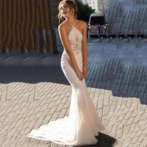 Chiffon Boho Lace Halter Mermaid Beach Bridal Dress image 1