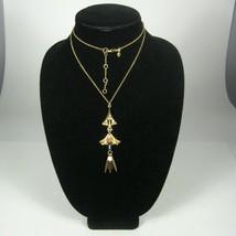 J Crew Necklace Womens Strand 29 Inch Pendant Goldtone Rhinestones Pink - $59.39