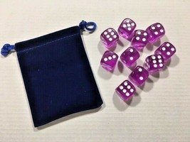 Ten Piece - Six Sided Dice Set & Bag - Purple Clear / White Die Pips -=N... - $6.60
