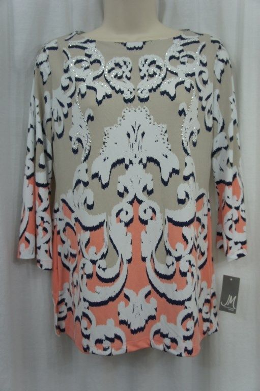JM Collection Petite Top Sz PS Multi Color Pea Separted 3/4 Sleeve Casual Blouse
