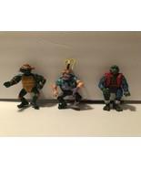 Lot Of 3 TMNT Playmates Figures Scumbug Samurai Leo Rock 'N Roll Michael... - $10.70