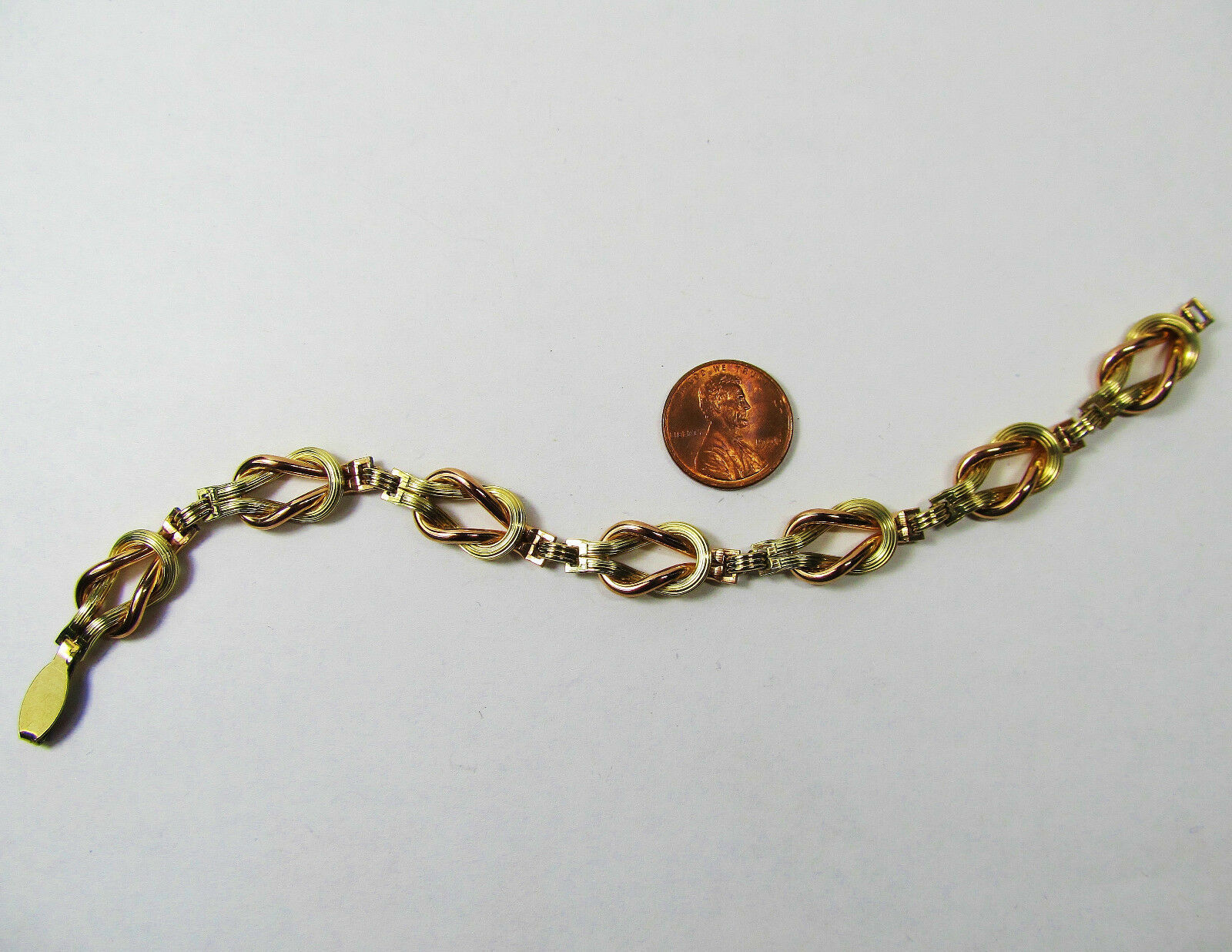 "Vintage Pink Yellow Gold Wash Sterling Silver Love Knot Book Chain 7.5"" Bracelet"