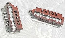 RAZOR BLADE FINE PEWTER PENDANT CHARM - 10x23x1mm