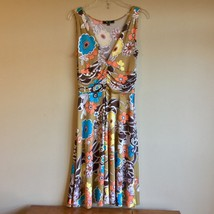Lily PM M V-Neck Sleeveless Sundress Dress Casual Floral Taupe Yellow Bl... - $26.72