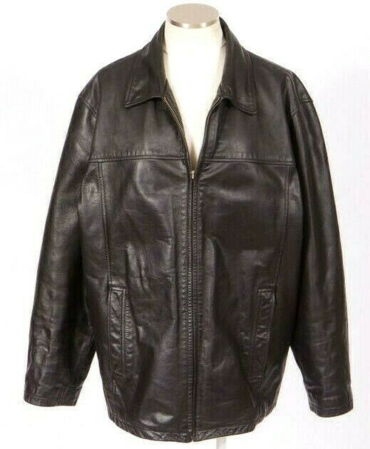 Primary image for M Julian Wilsons Bomber Jacket Heavy Black Leather Quilt Lined Field Mens Size L