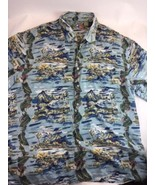 Hilo Hattie Hawaiian 100% Silk Aloha XL Mountain Island Surf Shirt - $24.54
