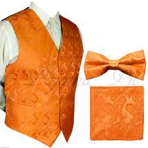 ORANGE Paisley Vest Waistcoat & Bow tie Hanky Formal Wedding Prom Tuxedo Suit - $22.75+