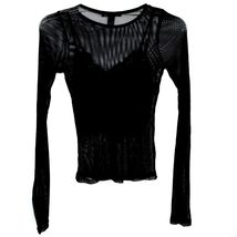 Forever 21 00211628 Women's 2-Part Mesh Long Sleeve Top w Lace Tank Insert Sz M image 3